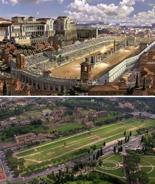 Знаменитые римские сооружения 2000 лет назад и сейчас (6 фото)