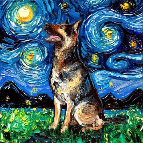 """Художница пишет портреты собак в стиле """"Звёздной ночи"""" Ван Гога (20 фото)"""